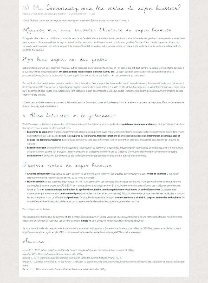 Portfolio - Secrets des bois - Blogue