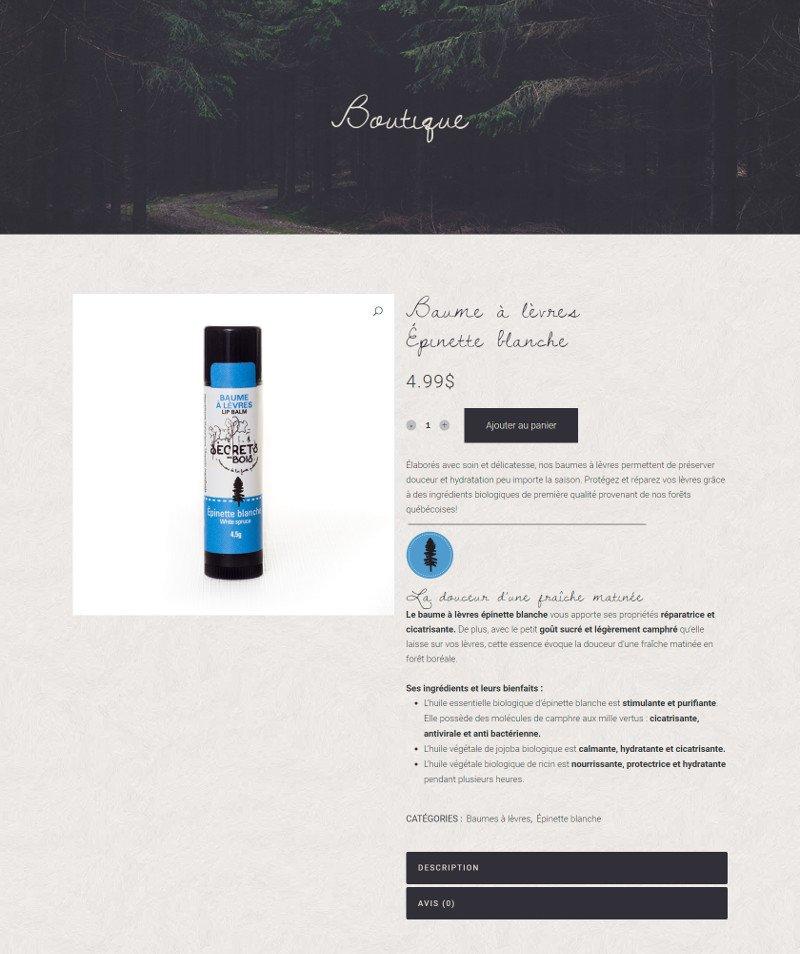 Portfolio - Secrets des bois - Produit